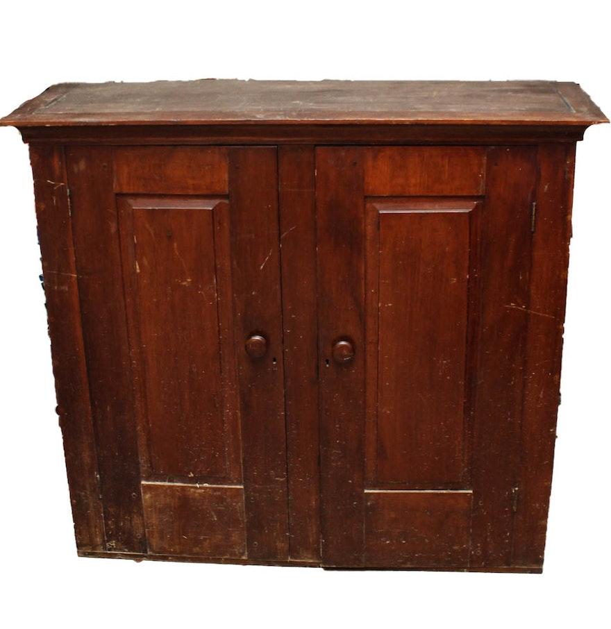 Antique solid wood storage cabinet ebth