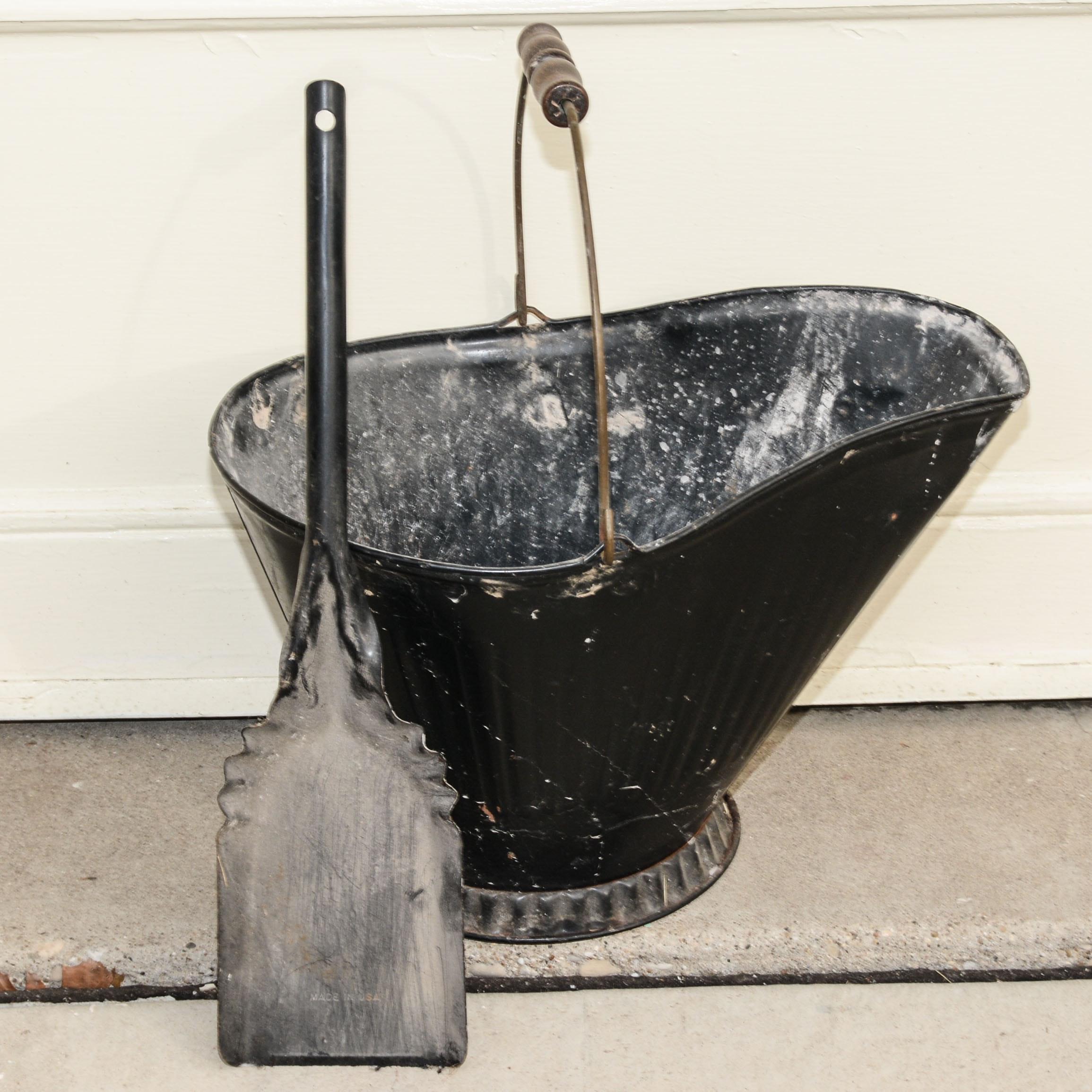 vintage fireplace ash bucket and ash shovel ebth