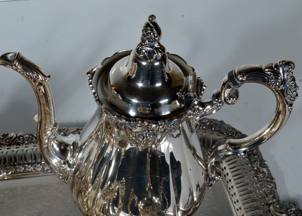 Baroque Wallace Silver Plate Tea And Coffee Set And
