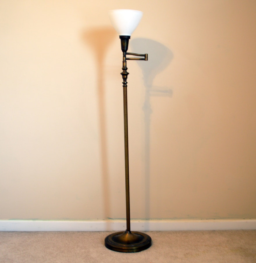 vintage torchiere brass floor lamp ebth. Black Bedroom Furniture Sets. Home Design Ideas