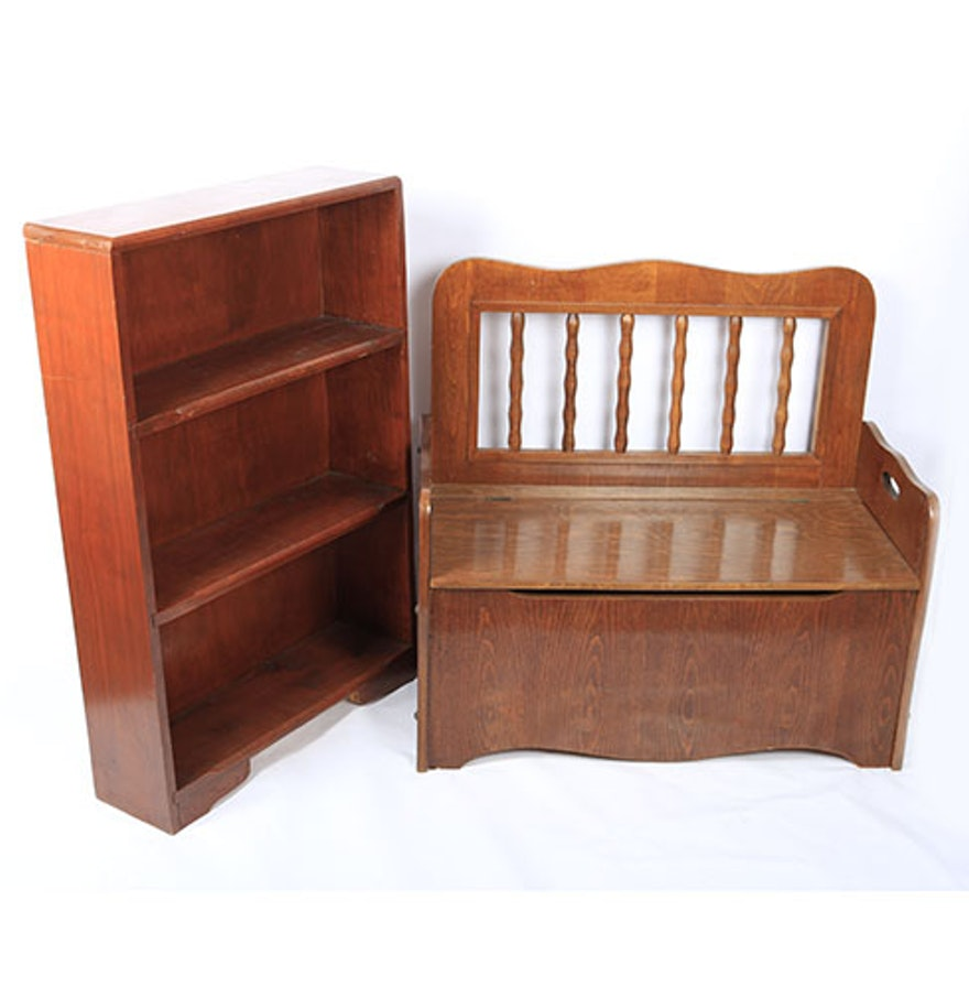 vintage wooden toy chest and bookcase ebth. Black Bedroom Furniture Sets. Home Design Ideas