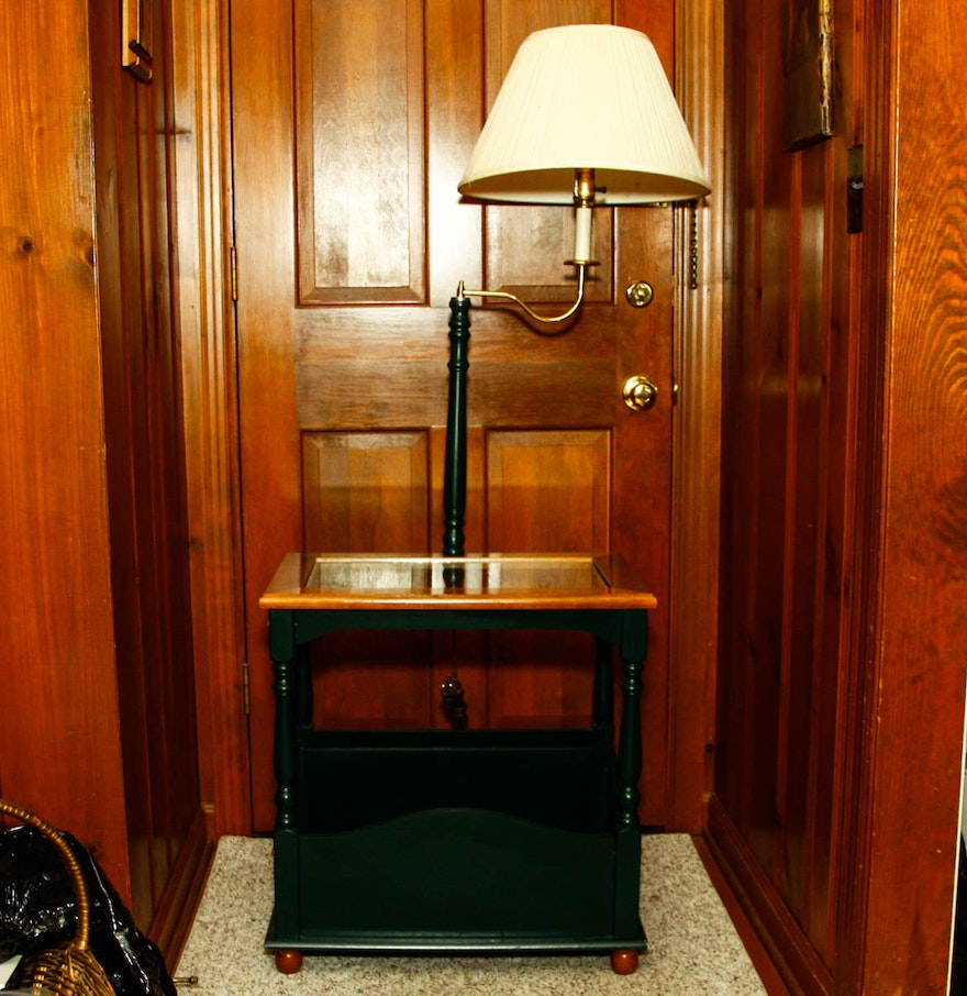 wooden side table with attached lamp ebth. Black Bedroom Furniture Sets. Home Design Ideas