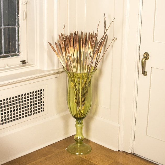 Green Glass Floor Vase And Reeds ...