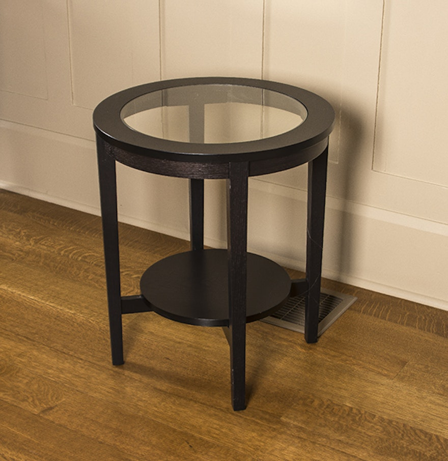 round glass top side table