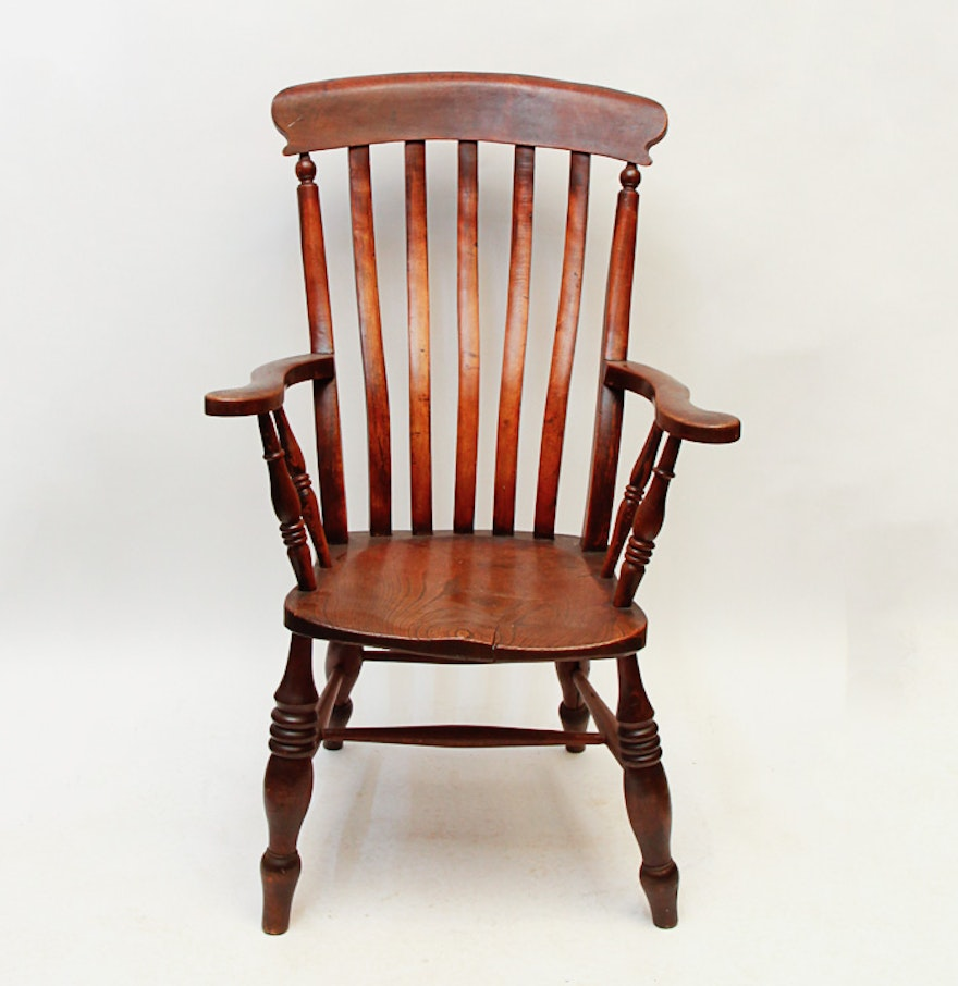 Antique wooden arm chair ebth