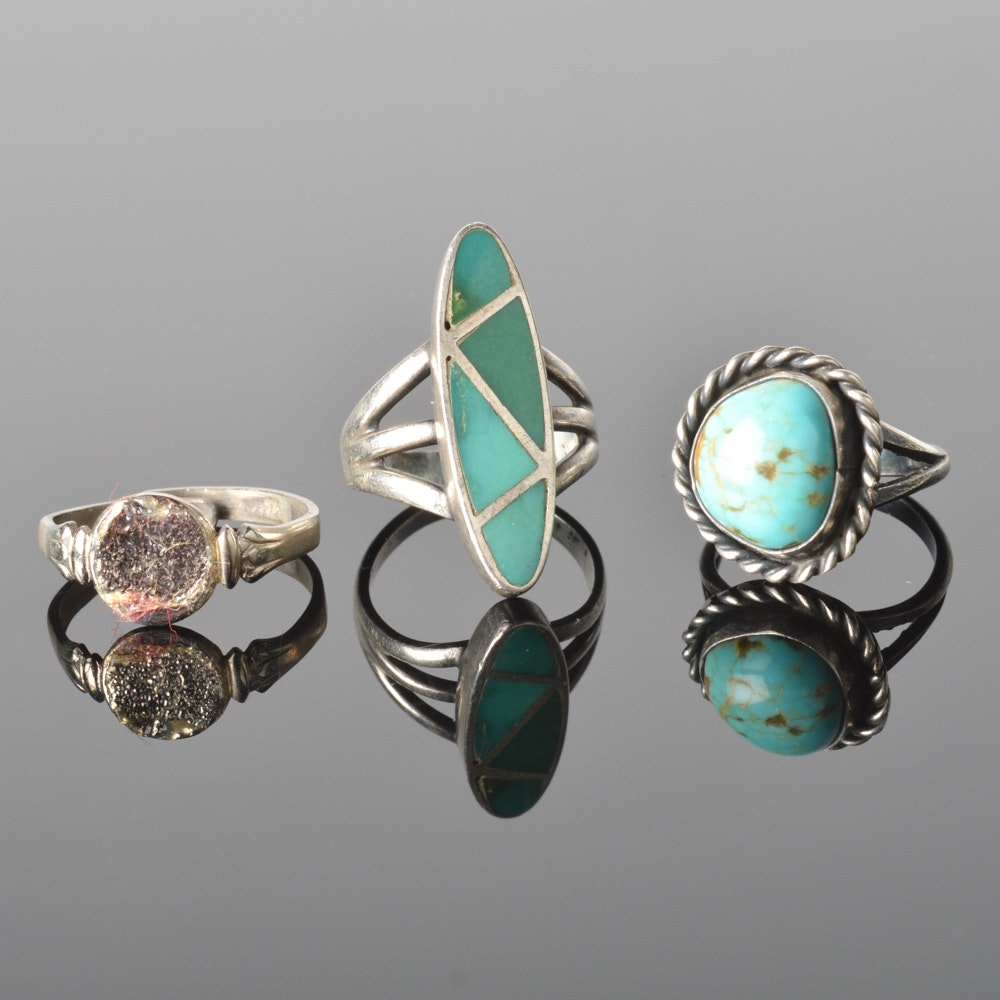 sterling silver and turquoise rings ebth