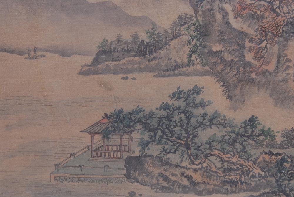 Chinese Print Of Seaside Pavilion Ebth