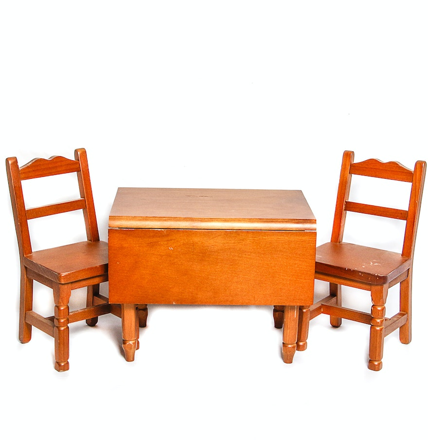 american girl doll molly 39 s drop leaf wooden table and chairs ebth. Black Bedroom Furniture Sets. Home Design Ideas