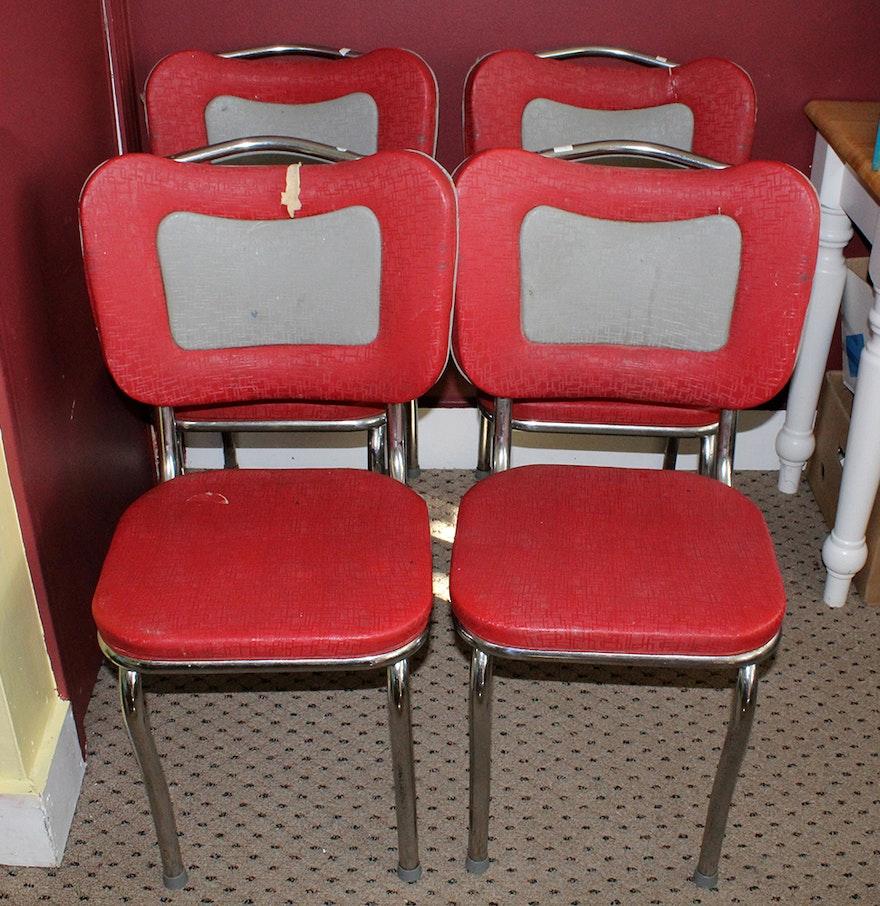 Four Retro Red And Grey Tru Chrome Dinette Chairs Ebth