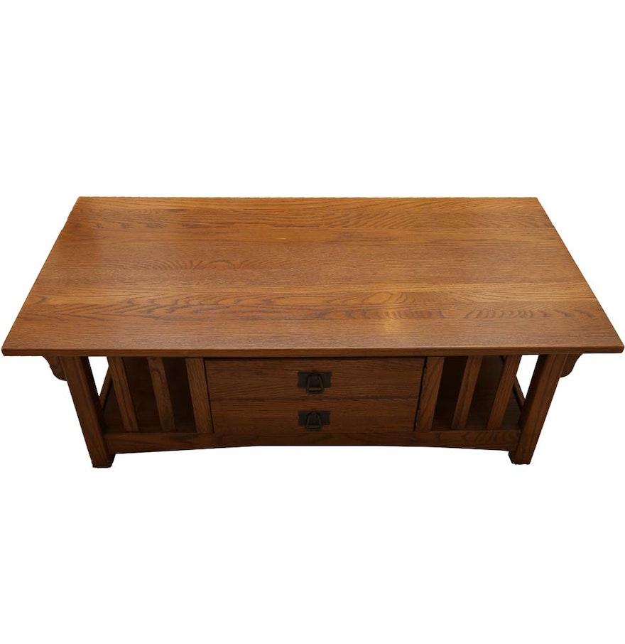 Oak Farmhouse Coffee Table Ebth