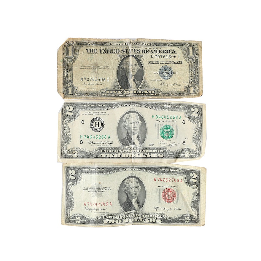 1935 E One Dollar Silver Certificate 1953 C Red Seal Two Dollar