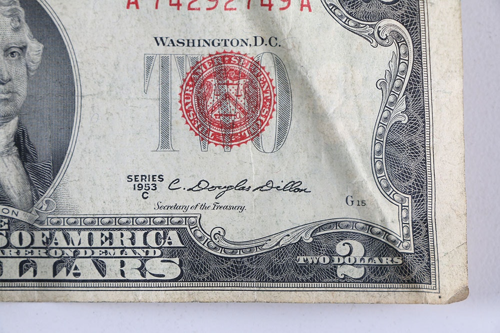 Baker Auto Sales >> 1935 E One Dollar Silver Certificate, 1953 C Red Seal Two Dollar Bill, and Series 1976 Two ...