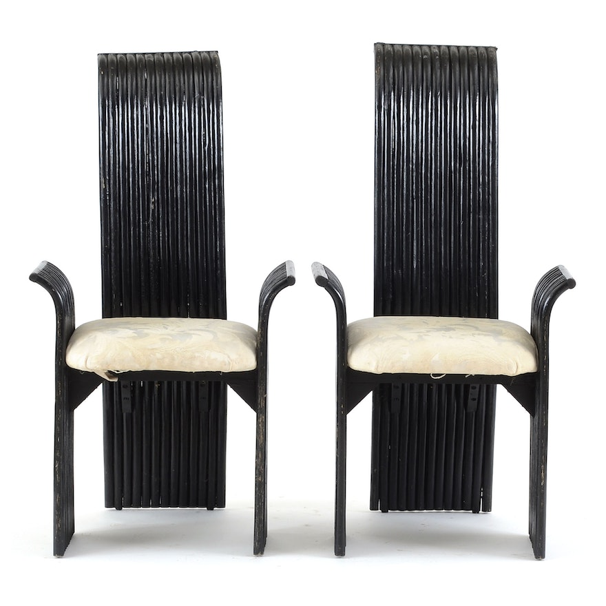 Pair Of Black Rattan Host And Hostess Dining Chairs