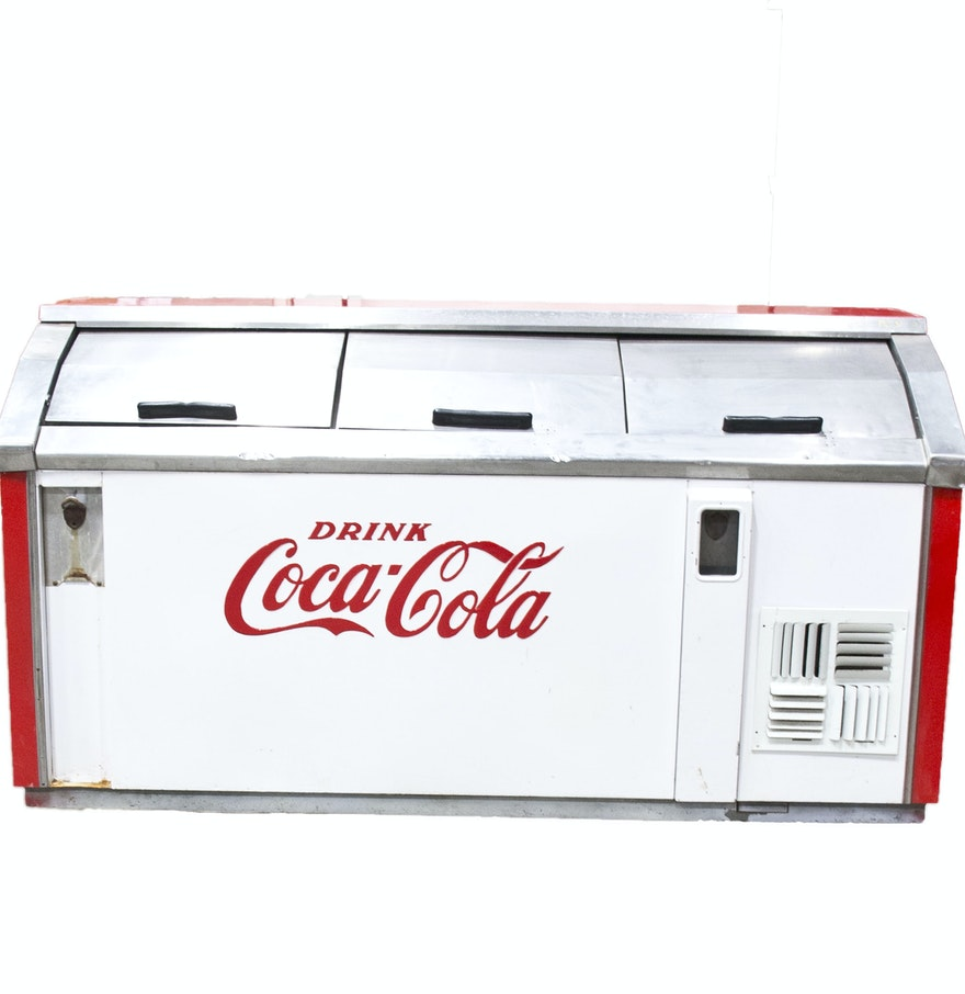 Large vintage coca cola cooler ebth for 1 door retro coke cooler