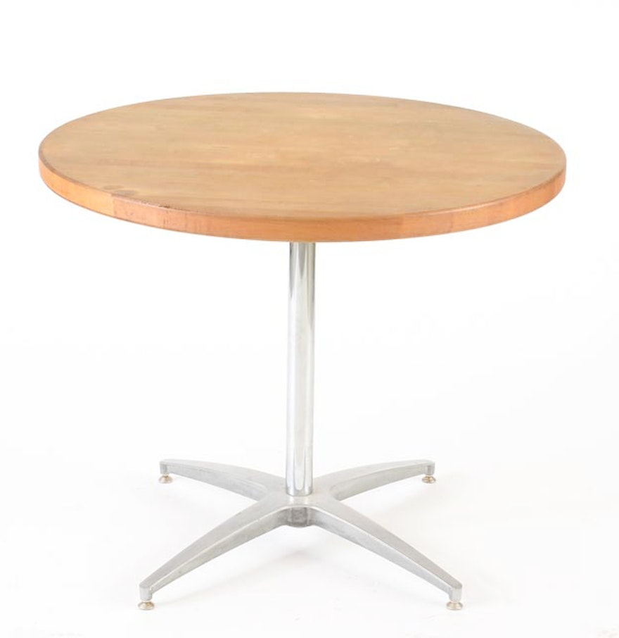 Round laminated maple top dining table ebth for Maple dining table