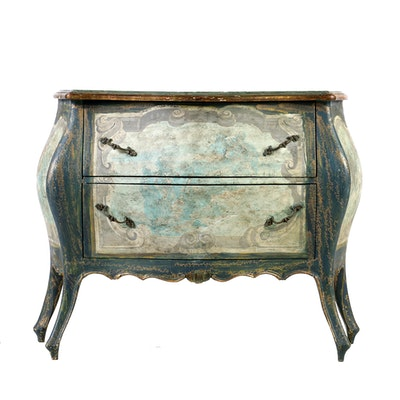 Italian Rococo Style Hand Painted Chest