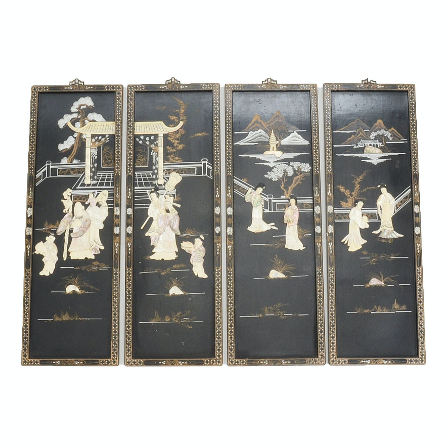 Four Vintage Chinese Black Lacquered Wood Soapstone Wall Panels