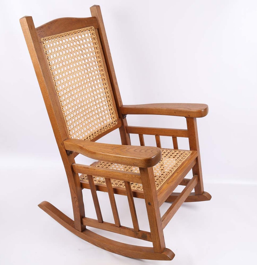 cane cherry rocking chair ebth. Black Bedroom Furniture Sets. Home Design Ideas