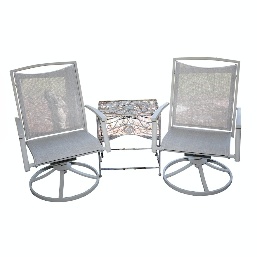 Remarkable Swivel Patio Chairs With Wrought Iron Table Bralicious Painted Fabric Chair Ideas Braliciousco