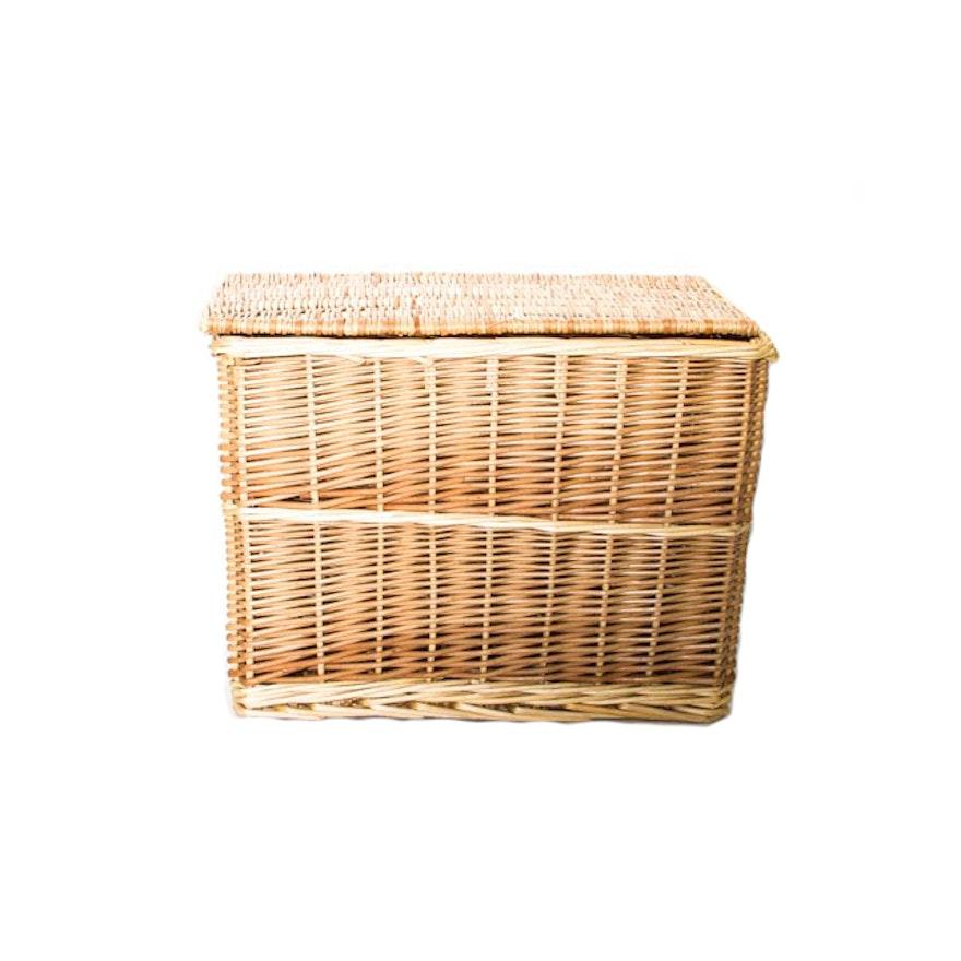 Wicker Basket With Hinged Lid Ebth