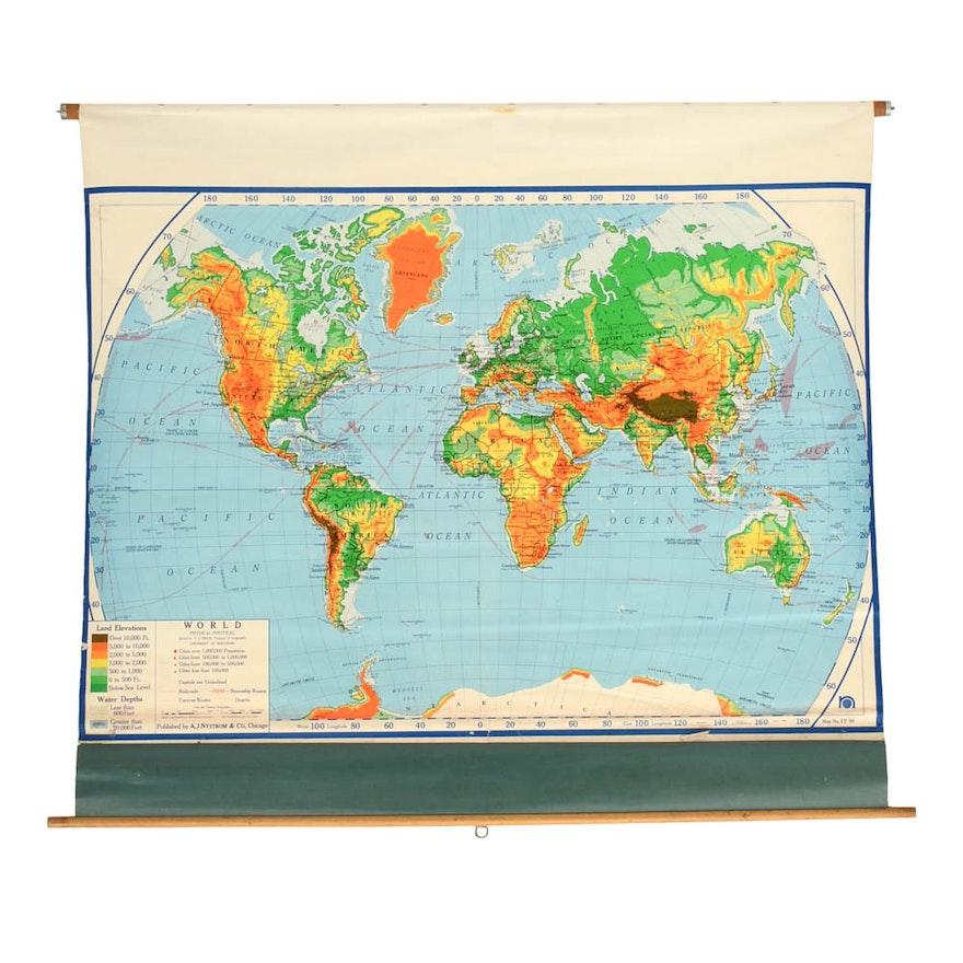 1968 Vintage Pull Down World Map Ebth