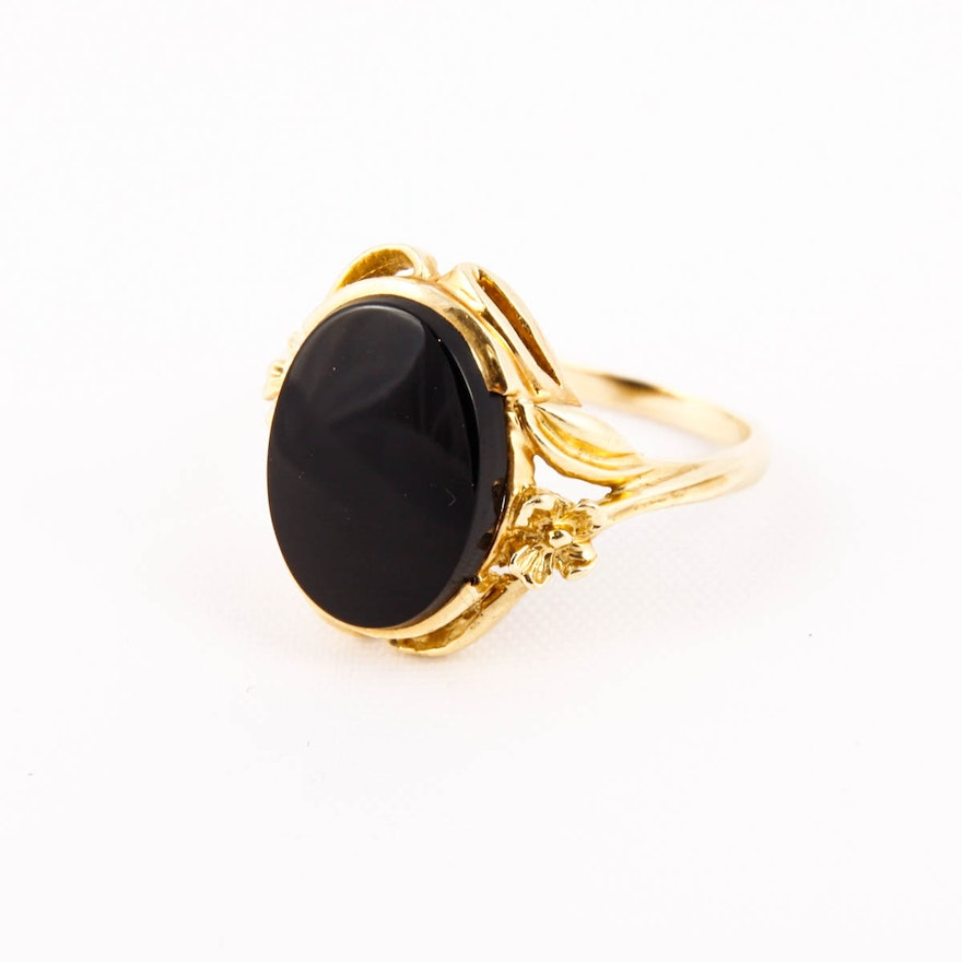 ffd1037be Women's 14K Yellow Gold and Black Onyx Ring | EBTH