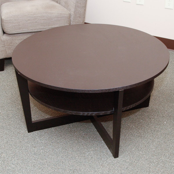 ikea vejmon round coffee table with shelf ebth. Black Bedroom Furniture Sets. Home Design Ideas