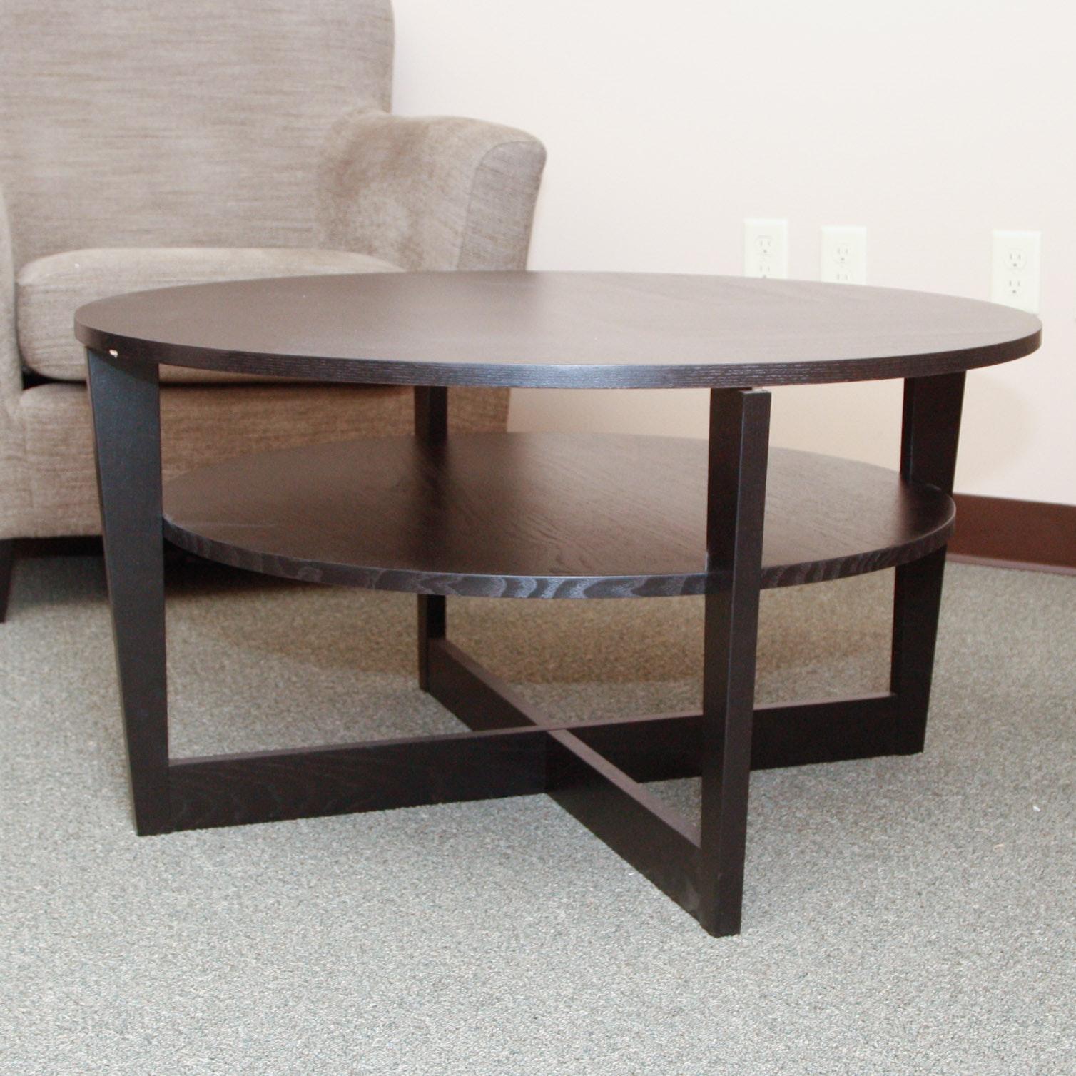 IKEA Vejmon Round Coffee Table With Shelf ...