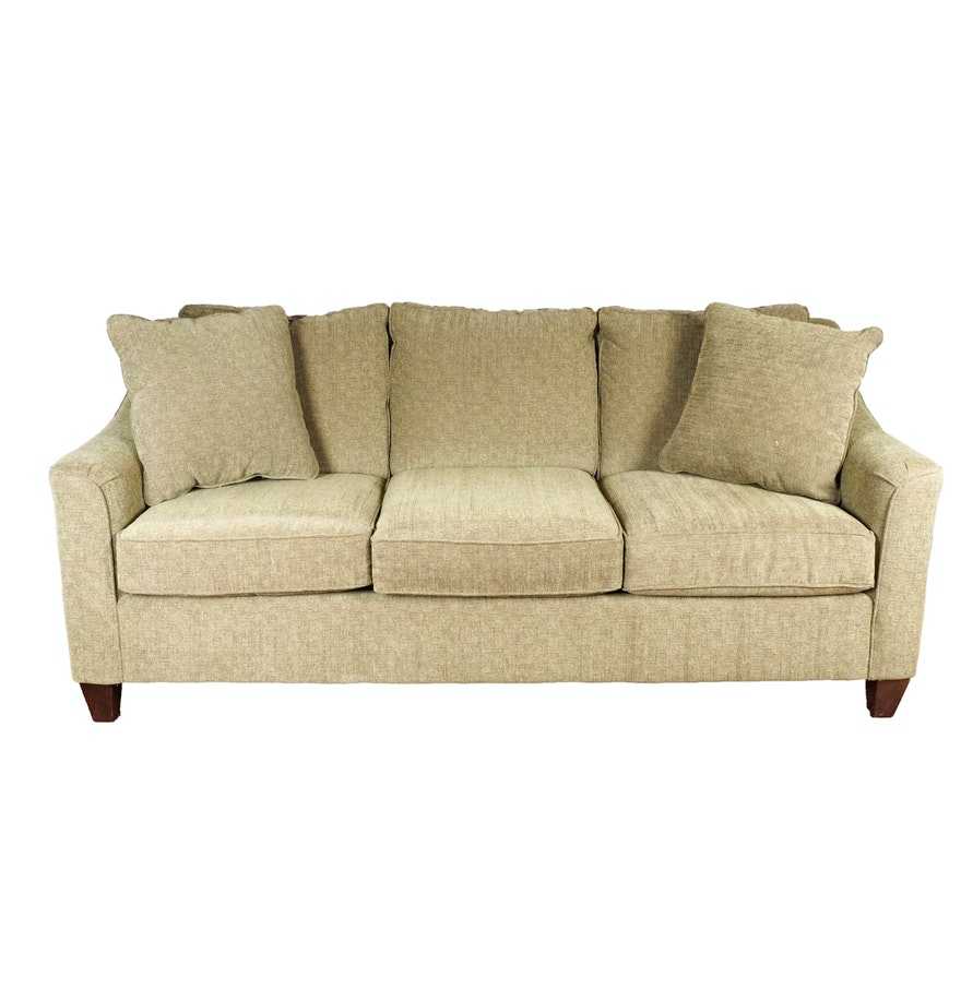 Sage green hickorycraft upholstered sofa ebth for Sage green sectional sofa