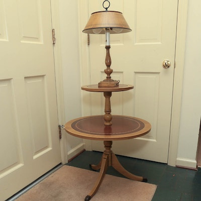 vintage tiered round mahogany side table with lamp. Black Bedroom Furniture Sets. Home Design Ideas
