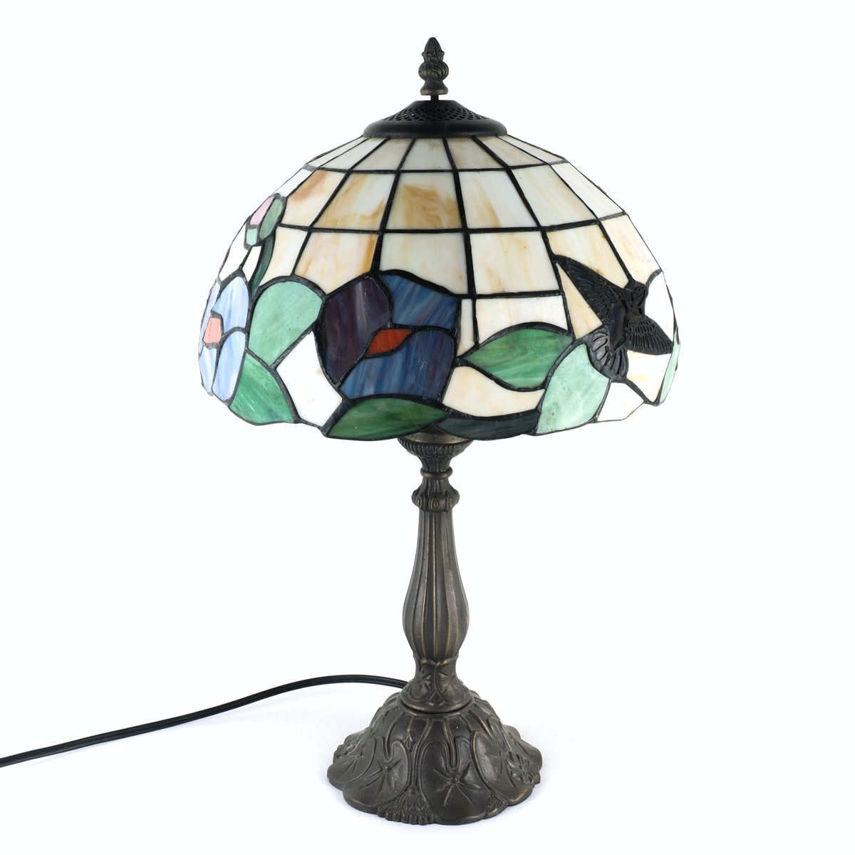 Tiffany Style Table Lamp With Floral Motif Shade And Decorative