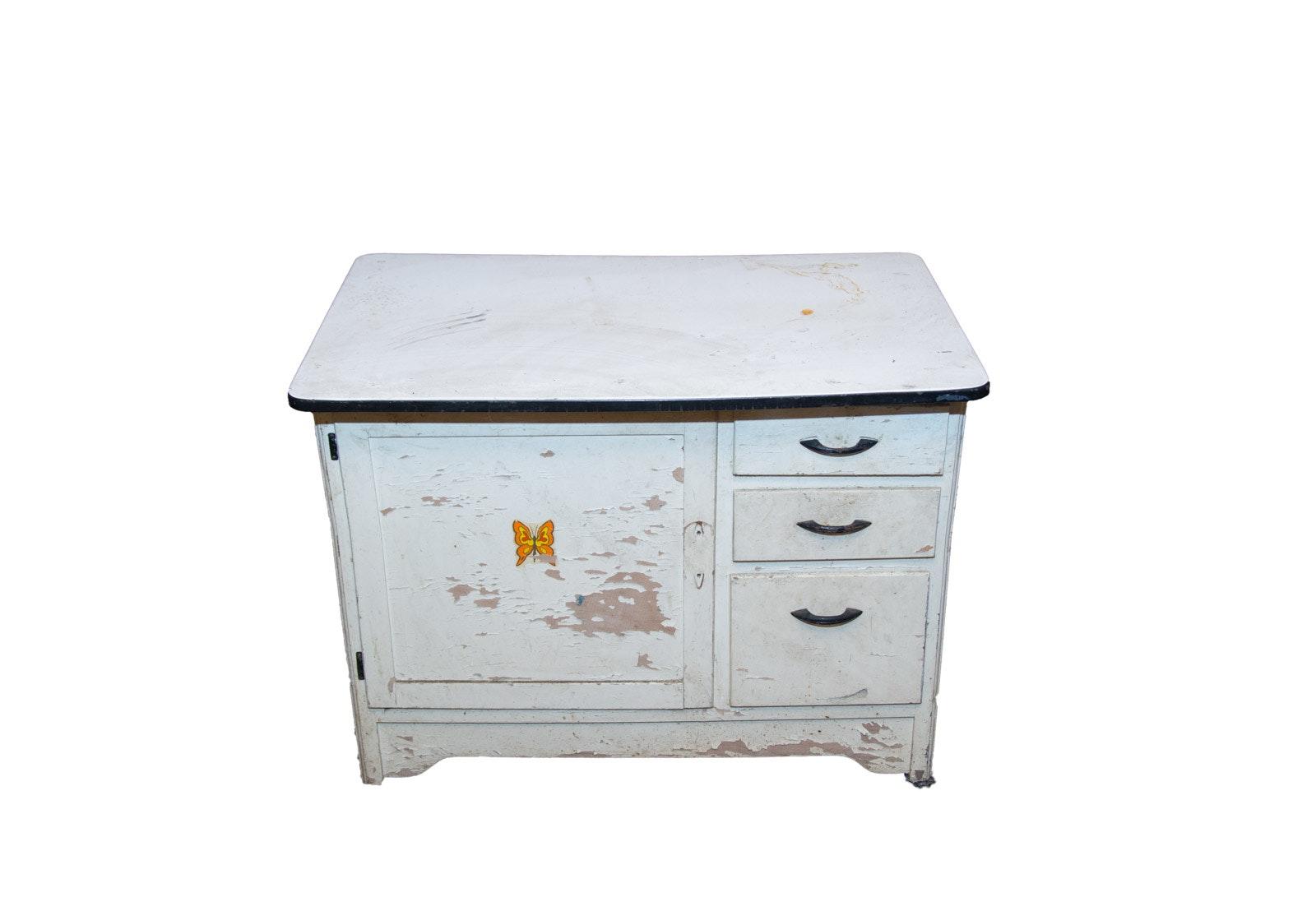 Vintage Porcelain Top Cabinet ...