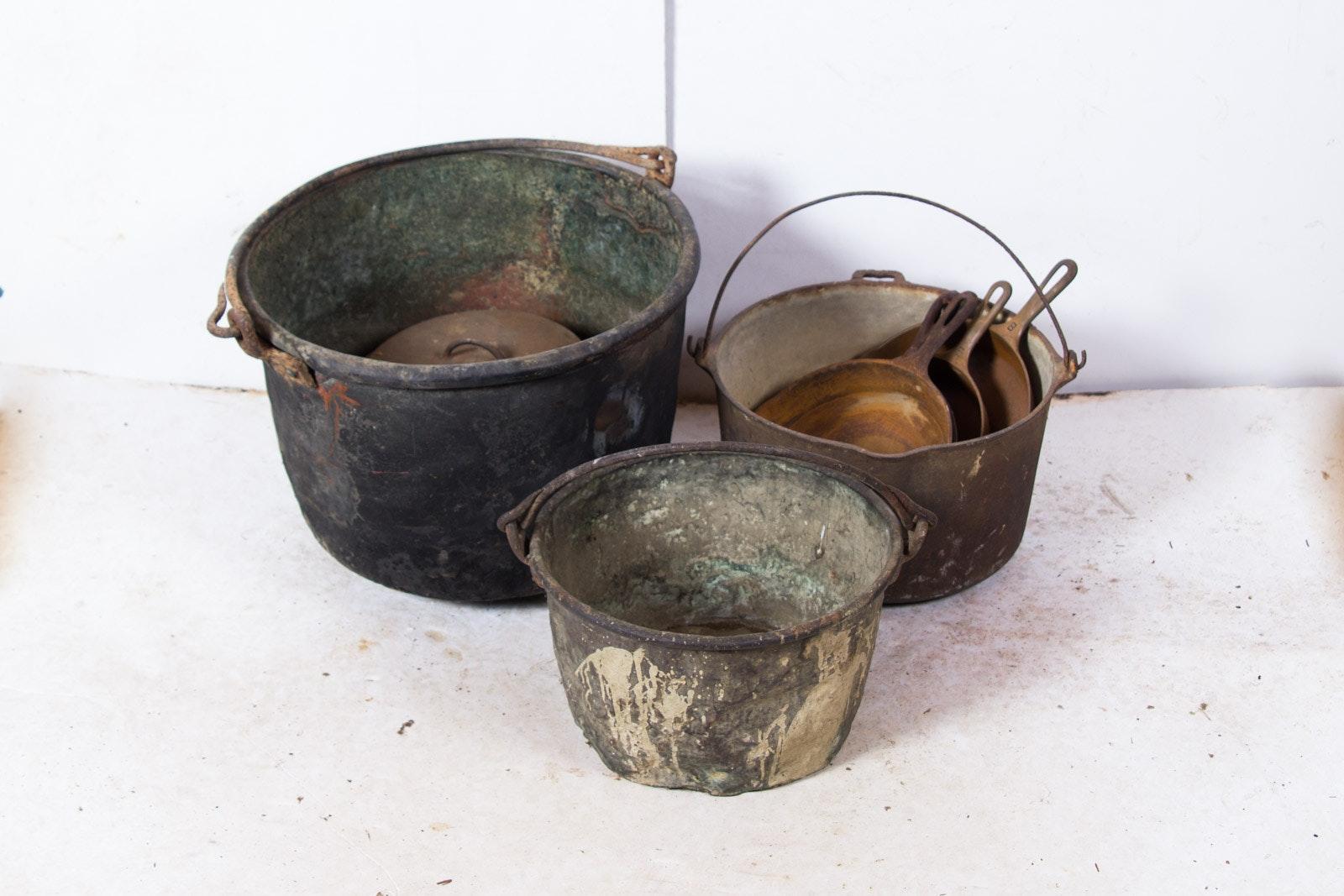 vintage metal pots and cast iron pans ebth