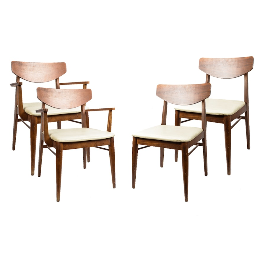Stanley Furniture Mid Century Walnut Dining Chairs