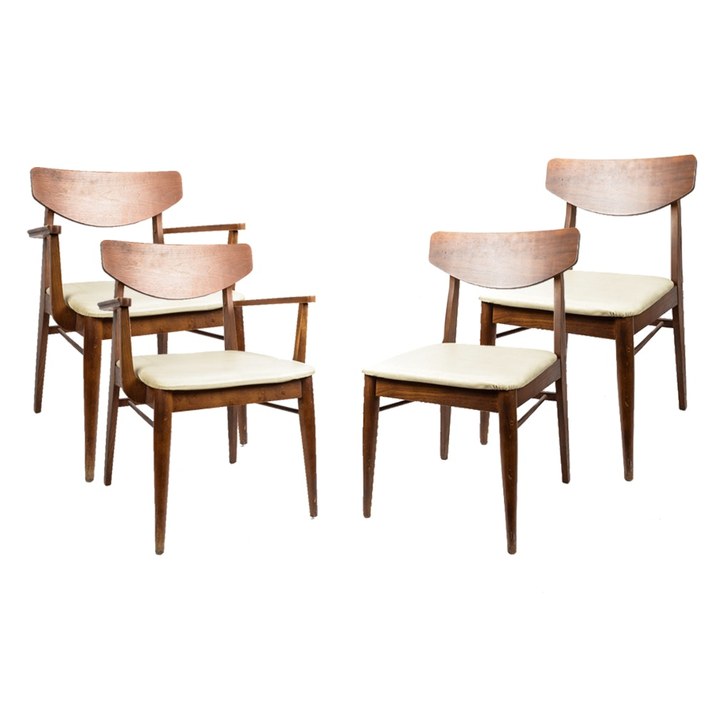 Stanley Furniture Mid Century Walnut Dining Chairs ...
