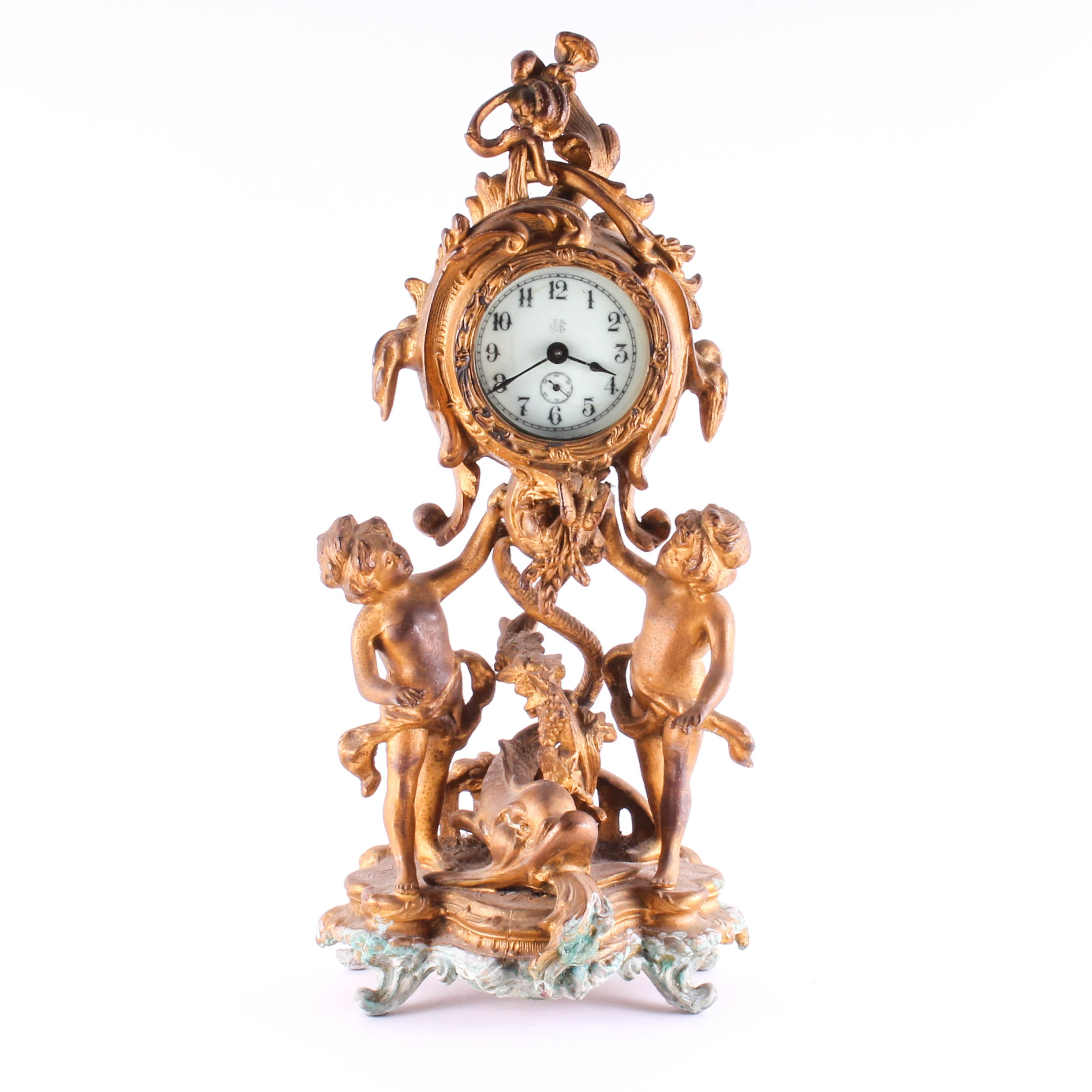 Jennings Brothers Antique Metal Decorative Table Clock ...