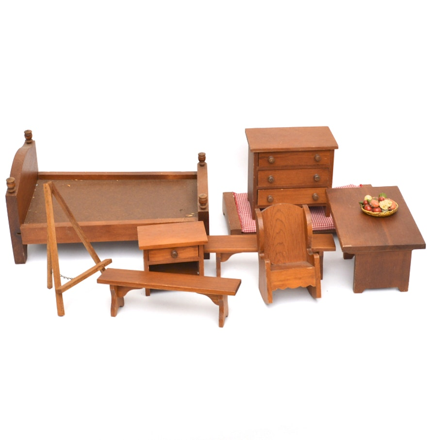collection of wooden doll furniture by hall 39 s lifetime toys ebth