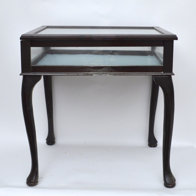 Mahogany And Glass Display Table ...