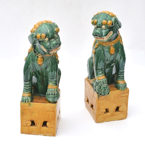 Pair of Chinese Green and Yellow Guardian Lions