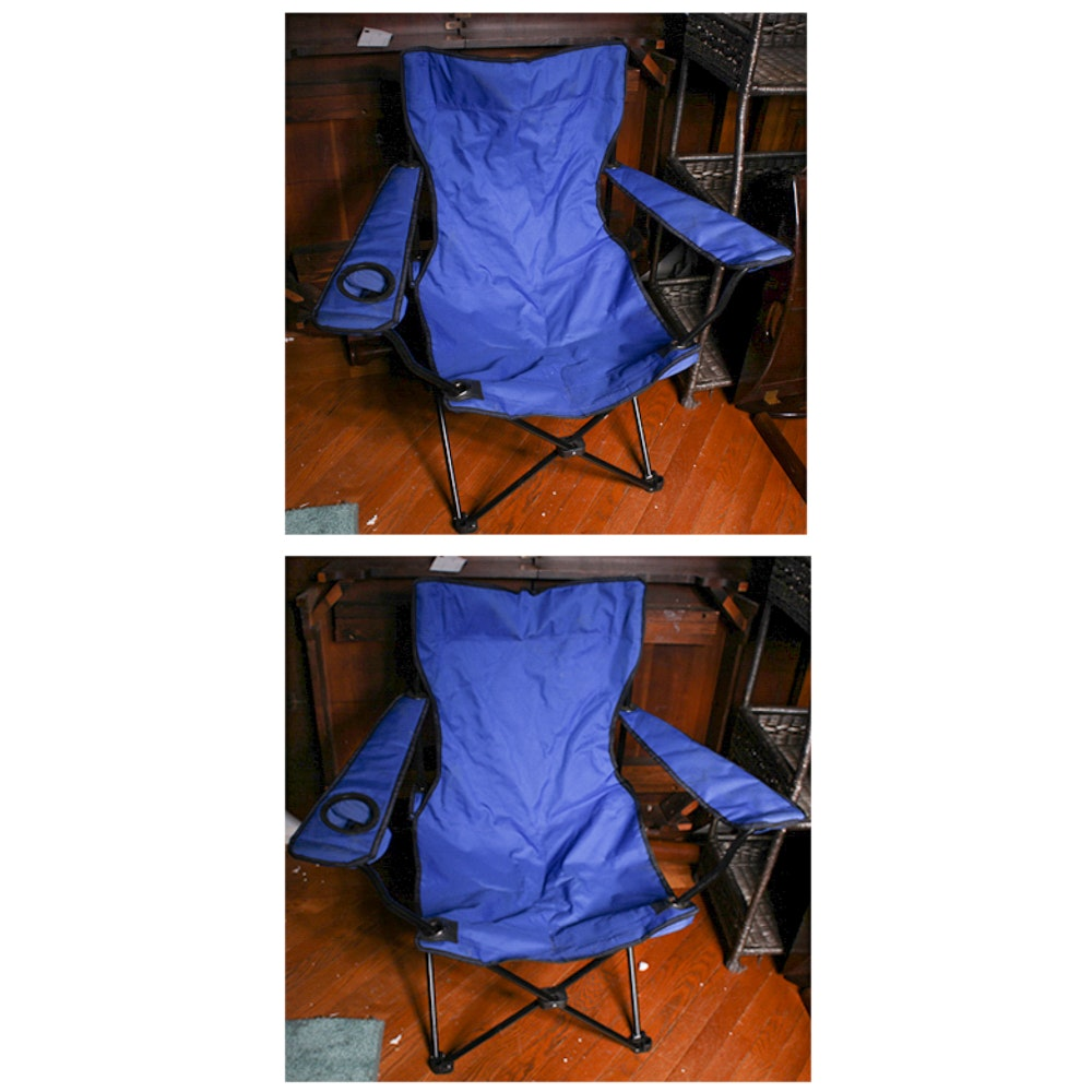Pair of blue folding camping chairs ebth
