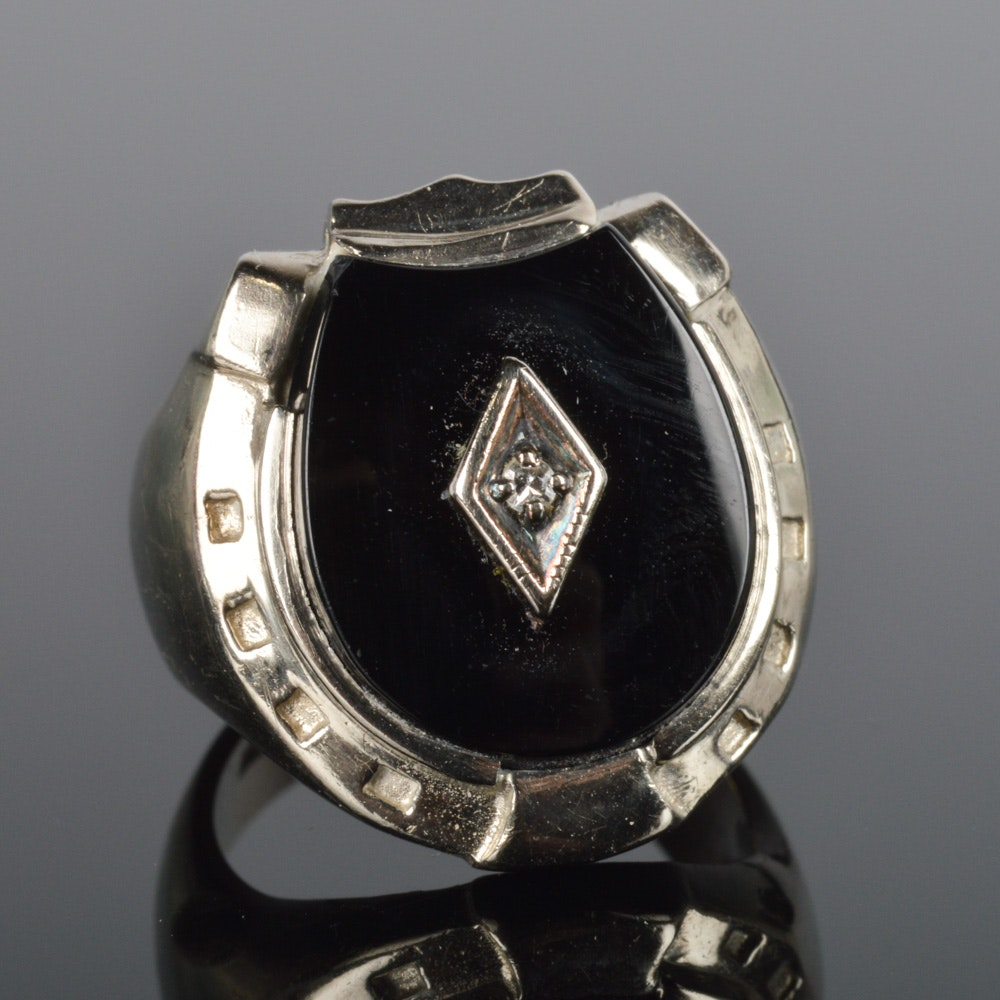 10k white gold and onyx ring ebth