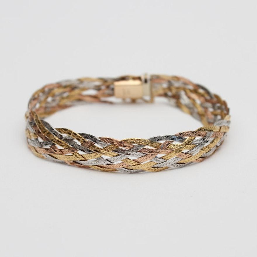 14k Gold Tricolor Woven Bracelet