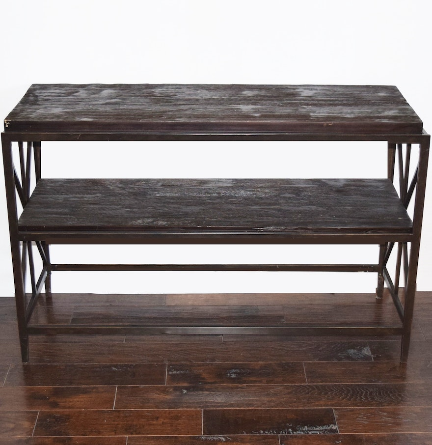 Console Tables With Picture Frames ~ Sofa console table in metal frame with rustic wood top and