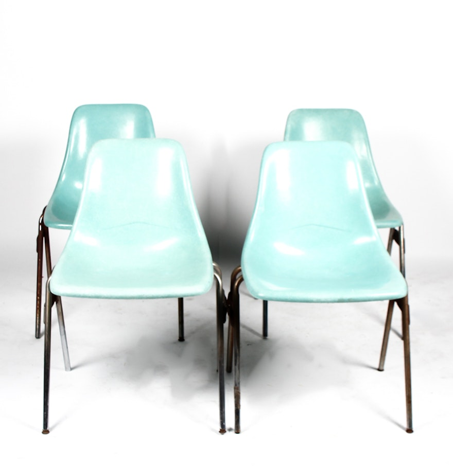 Four Eames Style Mid Century School Chairs By R Way EBTH