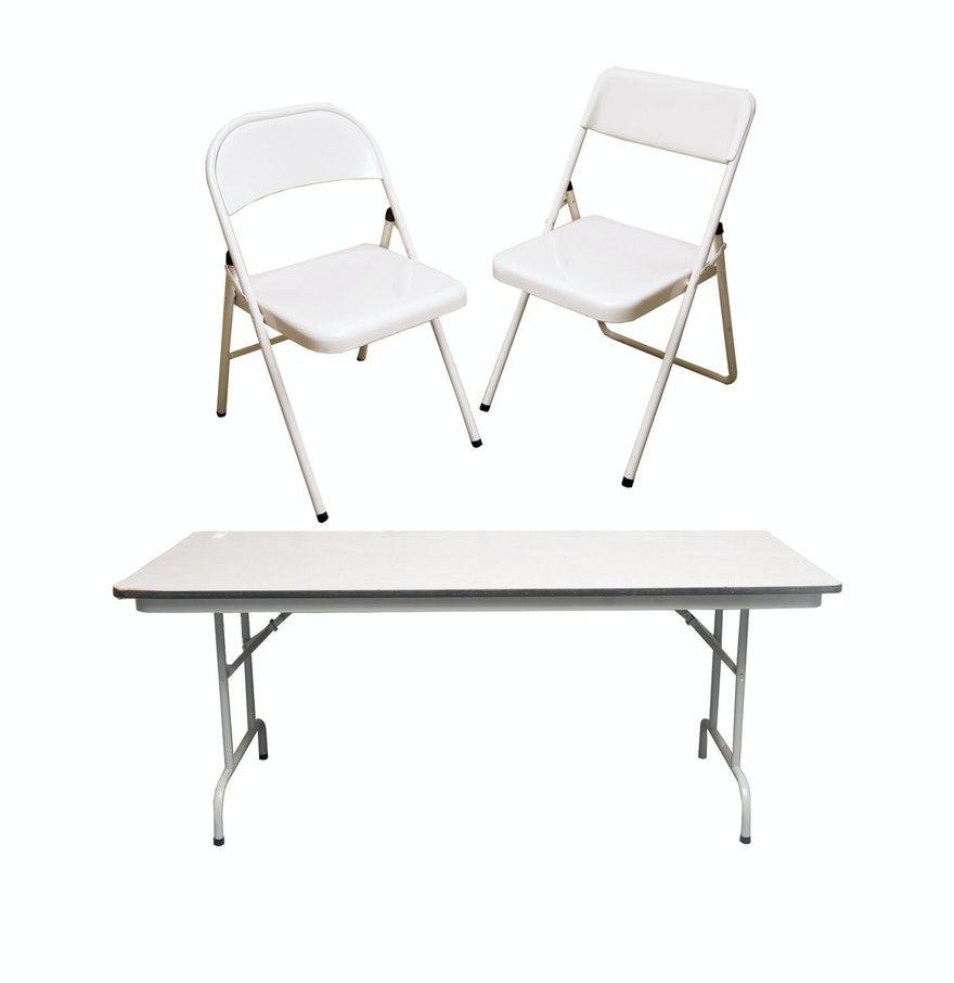 folding table and chairs by cosco and meco ebth. Black Bedroom Furniture Sets. Home Design Ideas