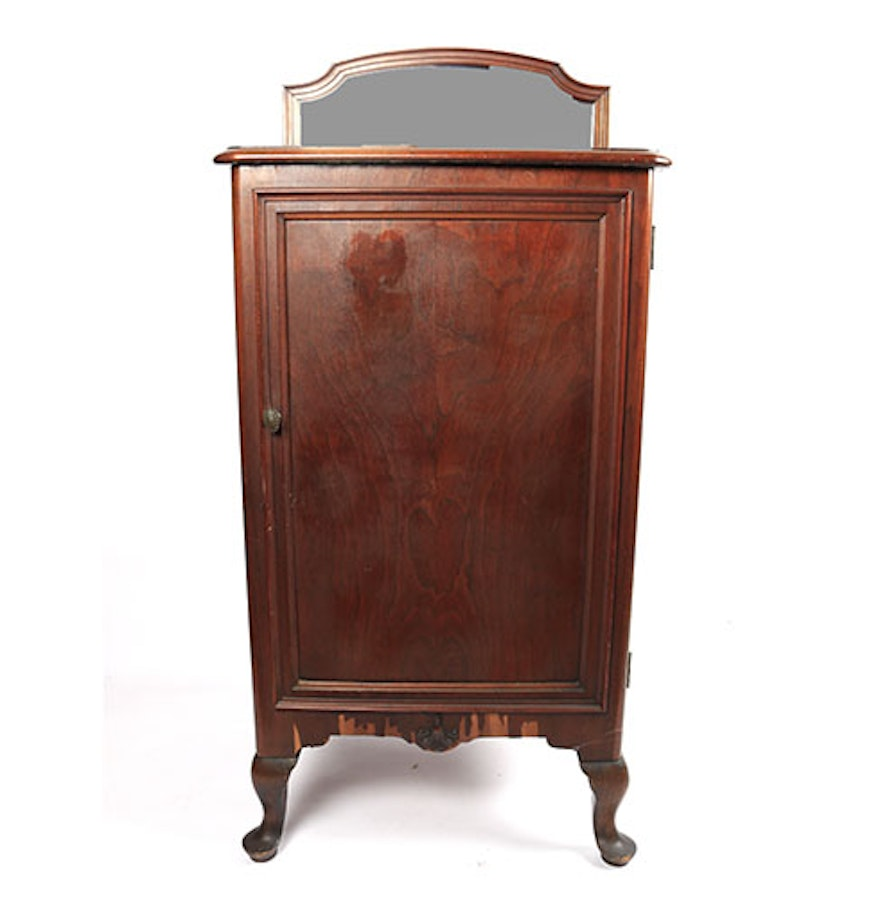 antique record cabinet with mirror ebth 87976