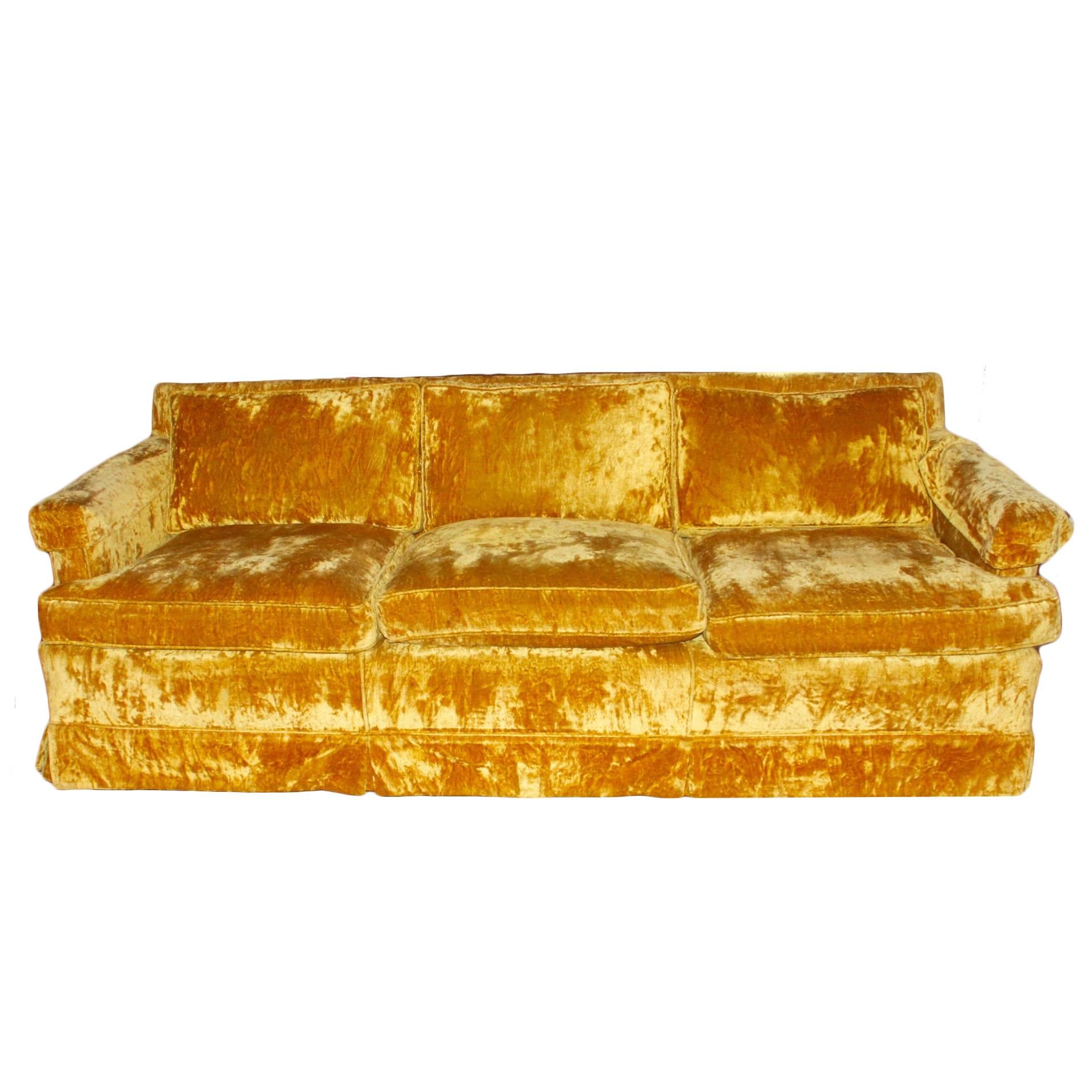 Nice Circa 1960s Gold Crushed Velvet Sofa ...