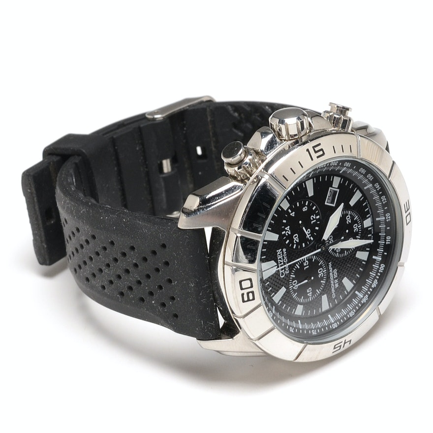 75d61829ab1 Citizen Eco-Drive Chronograph WR 100 Stainless Steel Wristwatch | EBTH