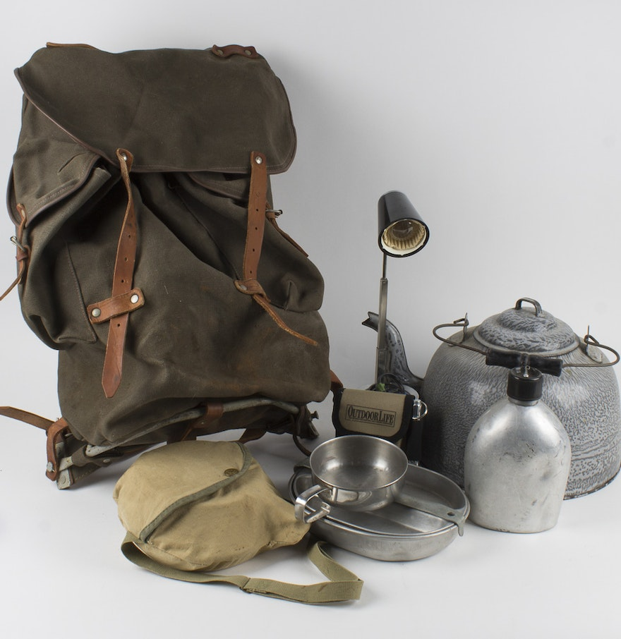 Vintage Pack With Camping Equipment : EBTH