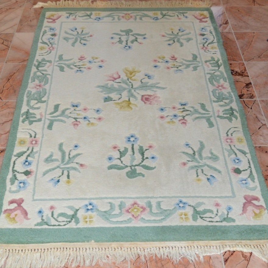 Handwoven Pastel Floral Area Rug Ebth